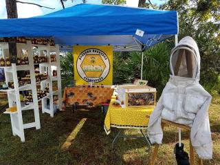 Information tent and honey sales at the Wickham Park Native Rhythms Festival 11/09/2019